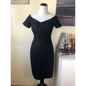 ZARA black sweetheart off the shoulder midi dress